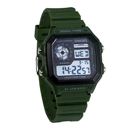 JewelryWe Herren Digitaluhr Digital Armbanduhr 30M Wasserdicht Sportuhr Quadrat Uhren mit 12/24H, Chronograph Countdown, Stoppuhr, Wecker, Kalender und LED Beleuchtung (Grün)