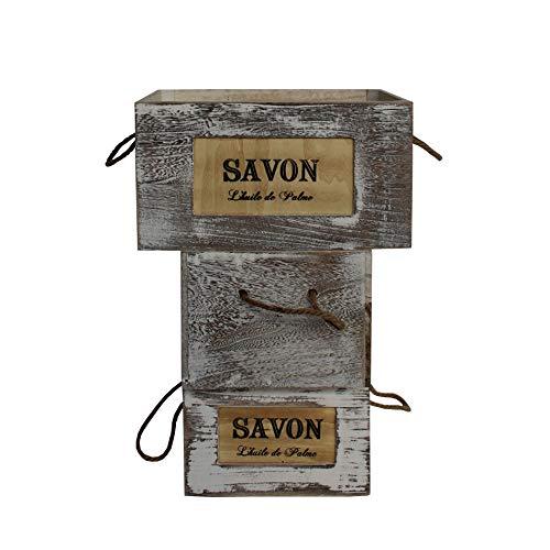 Set 3 Cajas Madera Blanco Shabby Porta Souvenirs Boda Organización Hogar Salón (Cod. RE6114)