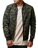 chouyatou Men's Casual Zip Up Camouflage Printed Flight Bomber Jacket (Large, Army Green)