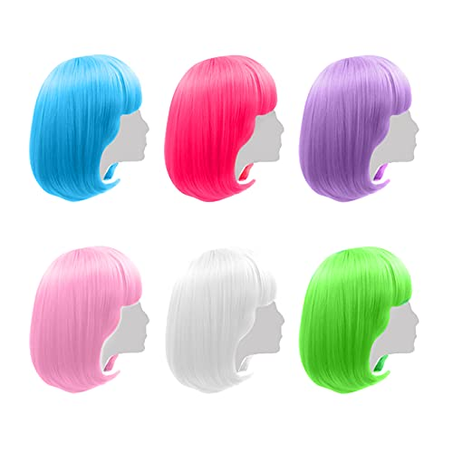 Colored Wigs 6 Pack  Short Bob Hair Wigs Neon Colorful Party Wigs for Women Girls Cosplay Costume Party Holiday Bachelorette Night Club