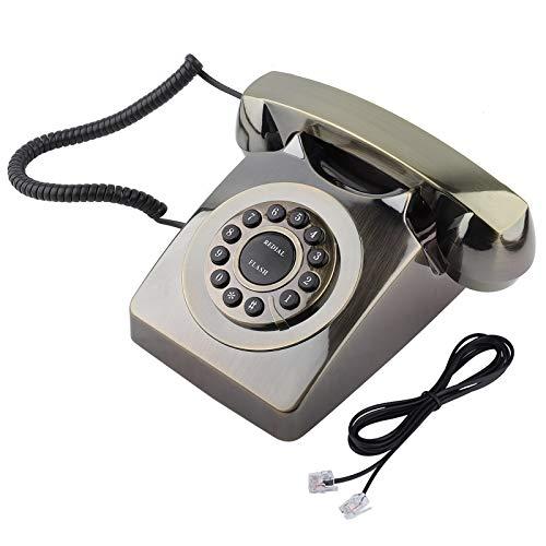 Longzhuo Vintage Antiguo, Estilo Occidental Vintage Antiguo Almacenamiento de números de teléfono Sonido Claro teléfono Retro(Bronce)