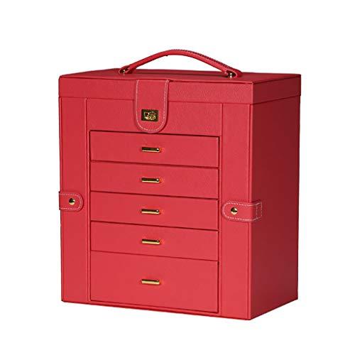 ZZL Caja de Joyería Caja de joyería Enorme 5 cajón Anillo Espejo Collar Organizador de Almacenamiento de Gran Capacidad Jewelry Box (Color : Red)