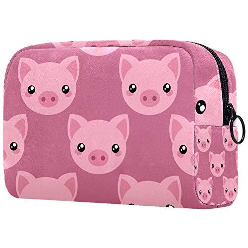 Trousse de toilette portable pour femme avec trousse de maquillage personnalisée cochon rose