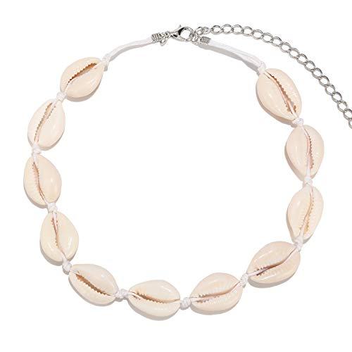 LEGITTA Damen Muschelkette mit Natürlich Shell Bohemian Conch Muschel String Choker Kette Strand Halskette Geschenk Schmuck für Frauen Mädchen Weiß Leder
