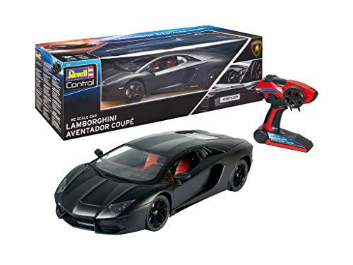 Revell Control 24690 RC Scale Car 1:10 Lamborghini Aventador, 2.4GHz, detaillierte und originalgetreue Nachbildung, Akku, Fahrlicht ferngesteuertes Auto, schwarz, 48 cm