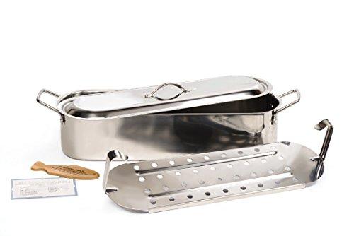 "RSVP International Endurance Stainless Steel Fish Poacher, 18"" | Cook Salmon, Snapper, Cod, Tilapia & More | Removable Long Handles | Dishwasher Safe & Heat Resistant"