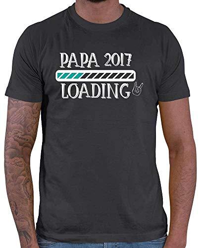Hariz – Camiseta para hombre, diseño de papá Loading 2017, versión 2, para hombre, para el día del padre, incluye tarjeta de regalo gris oscuro M