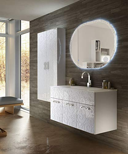 Mueble de baño suspendido Floral Miami blanco, 100 cm, espejo LED, lavabo y columna