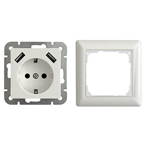 2 x USB geaard stopcontact 2800 mA inbouw model 55 met frame zuiver wit glanzend