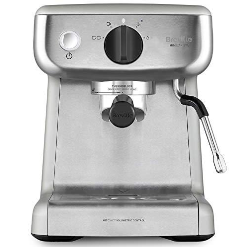 Breville Barista Mini für Espresso, Latte & Cappuccino| 2 L Wassertank | Milchschäumer | italienische Pumpe mit 15 bar | Edelstahl | Silber VCF125X