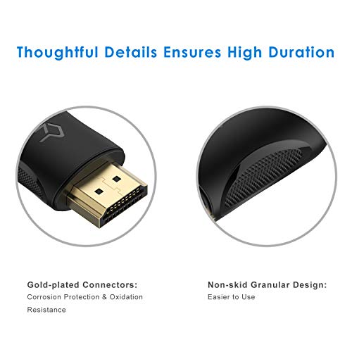 Rankie HDMI Cable, Supports Ethernet, 3D, 4K and Audio Return, 6FT, Black