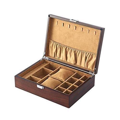 Caja de reloj de madera 12 ranuras organizador vitrina tapa de cristal para hombres y mujeres