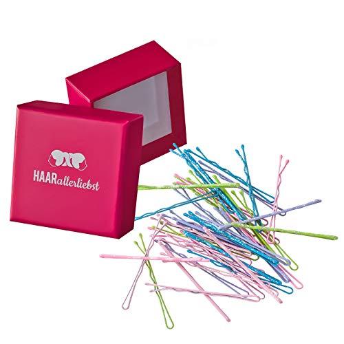 HAARallerliebst Haarklammern (40 Stück   bunt mit Glitzer   48mm) inkl. Schachtel zur Aufbewahrung (Schachtelfarbe: pink)
