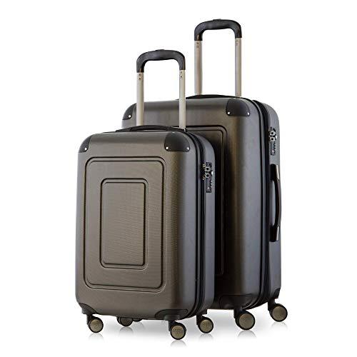 Happy Trolley - 2er Koffer-Set Trolley-Set Rollkoffer Hartschalen-Koffer Reisekoffer Lugano sehr leicht, TSA, (S+M), Graphit