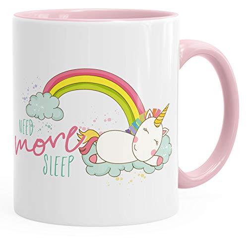 Kaffee-Tasse schlafendes Einhorn auf Wolke need more sleep sleeping Unicorn mit Innenfarbe MoonWorks® rosa unisize