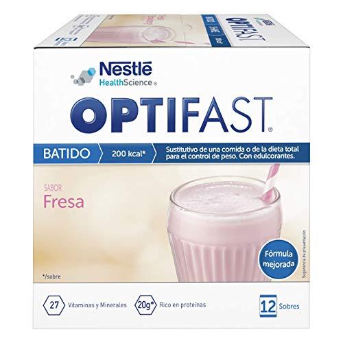 OPTIFAST Batido Fresa - Envase de 12 sobres de 53g cada uno, sustitutivos de la comida para control de peso