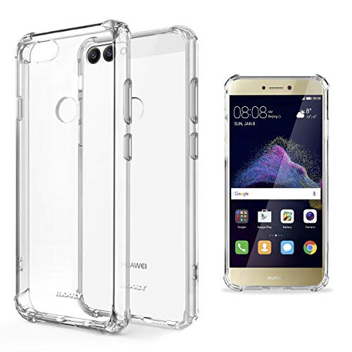 Moozy Funda Silicona Antigolpes para Huawei P8 Lite 2017 - Transparente Crystal Clear TPU Case Cover Flexible