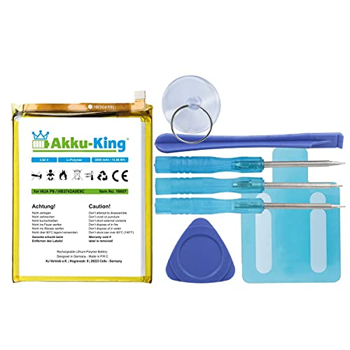 Akku-King Akku kompatibel mit Huawei HB366481ECW - Li-Polymer 3200mAh - für P9 Lite, P8 Lite, P9 Premium, 8 Dual SIM LTE, P9, P10, P20