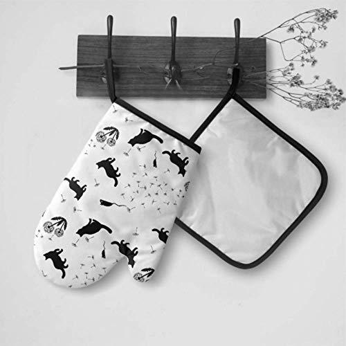 Camping Ofenhandschuh Pusteblume Samen Katze Tier Jugendliche Isolierte Handschuhe Ofenhandschuh und Topflappen Set Wasserdicht Hitzebeständig für BBQ Kochen Backen Grillen Grillen