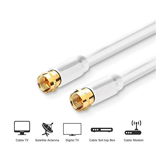 MIYAKO 100 Feet Coaxial Cable Double Shielded Braid F Type Gold Plated Connectors - White (M-217-100G)