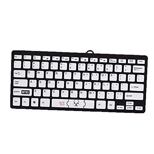 shengo Kpop BTS Kabelgebundene Business Tastatur für Windows, Linux und Chrome, USB-Anschluss, QWERTY Layout, Spritzwassergeschützt, PC/Laptop, BTS Geschenk für Army (Rj)
