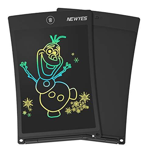 NEWYES Bunte LCD Schreibtafel - 8,5 Zoll Elektronisch Papierlos Notizblock Zeichenbrett ideal für Kids Office Family (Schwarz)