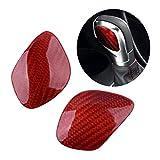 zhuzhu 2 Unids/Set Fibra De Carbono Red Car Shift Knob Insignia Emblema Cubierta De Ajuste Ajuste para Volkswagen VW Tiguan CC Golf