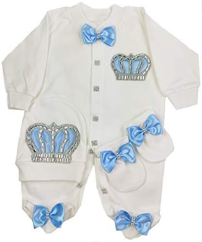 Recién Nacido bebé niño Joyas de la Corona Set de Regalo de 3 Piezas de 0-3 Meses y 3-6 Meses