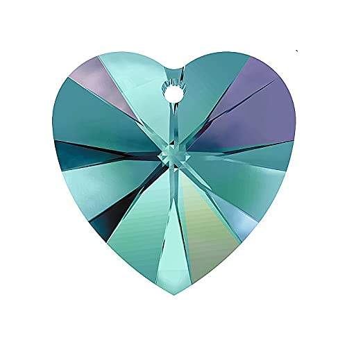 2 colgantes de cristal de Swarovski – Corazón (6228) – Circonita azul AB, 10,3 x 10 mm (colgante Swarovski Crystal – Corazón (6228) – Circonita azul AB, 10,3 x
