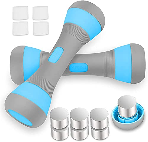VAZILLIO Hantel für Krafttraining, verstellbar, 2 x 2 kg/2 x 5 kg, 5 in 1 Hanteln, verstellbar, für Damen und Herren, Neopren-Griff, rutschfest, für Fitness, Gym, Pilates, Muskeltraining