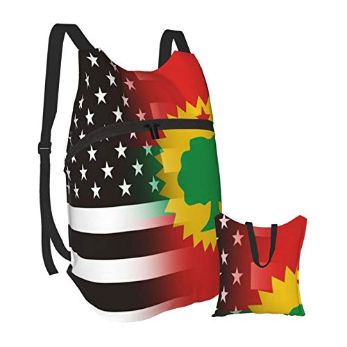 black and white USA The Oromo Liberation Front flag Outdoor Foldable Travel Backpack Durable Bookbag