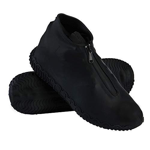 Cubrecalzado Impermeable,Cubierta del Zapato Impermeable Funda de Silicona para Zapatos,Funda de Zapato Reutilizable & Impermeable para Días de Lluvia y Nieve (XL (43-47), Negro)