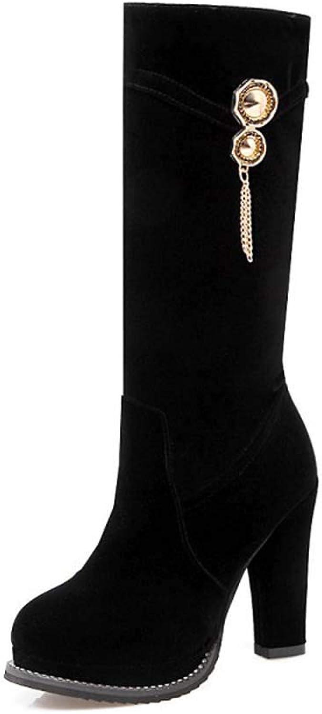 GONGFF Tassel High Boots Women's Large Size High Heel Suede Women's Boots