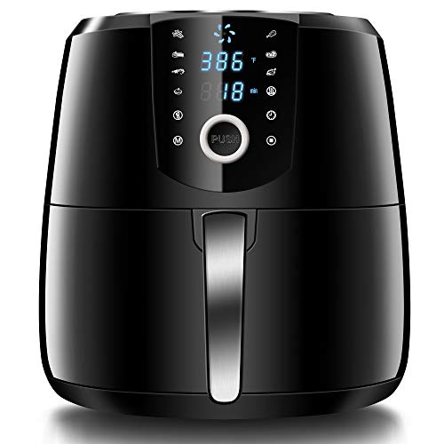 HOLSEM Air Fryer XL with Rapid Air Circulation System, 5.28 QT Extra Large Capacity Digital Air Fryer, Temperature up to 400°F, Low Fat Healthy Air Fryer, Black, 1500W (LED Display)