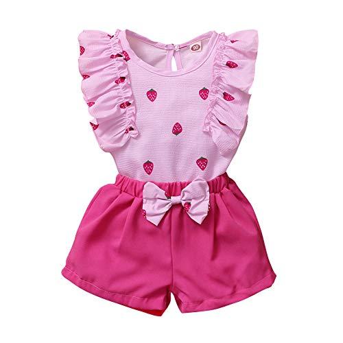 Julhold Conjunto de pantalón corto con volantes y diseño de fruta de trawberry con lazo.