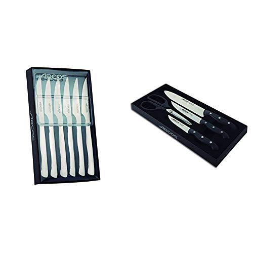 Arcos 378200 - Juego de cuchillos chuleteros, 110 mm (6pzas.) + Maitre - Set de 3 cuchillos y tijera (4piezas)