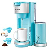 Sincreative Coffee Maker with Milk Frother - Cappuccino Latte Coffee Machine with Milk Frother - Compact Fast Brew Single Serve Coffee Maker for K Cup Pod or Ground Coffee - Brew Size 6-14oz – Blue