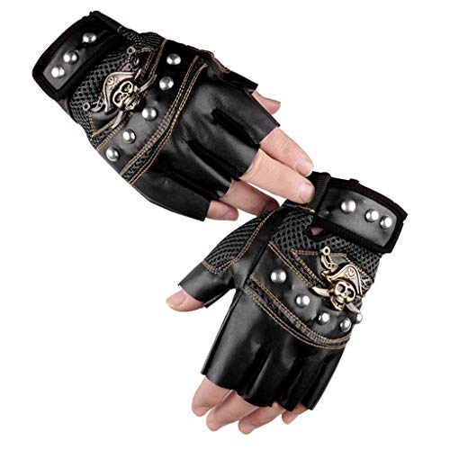 Men Women Cool Skull Rivets PU Leather Half Finger Gloves Breathable Mesh Anti-Slip Cycling Riding Driving Motorcycle Biker Gloves Mittens