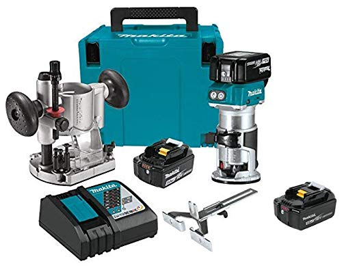 Makita XTR01T7 18V LXT Lithium-Ion Brushless Cordless Compact Router Kit with Makita BL1850B 18V LXT Lithium-Ion 5.0Ah Battery