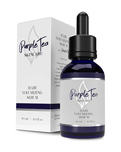 Volumizing Hair Serum by Purple Tea Skincare   Hair Growth Serum with Vitamin E & Biotin   Natural Hair Thickening Products for Women & Hair Regrowth for Men   Paraben Free & Vegan