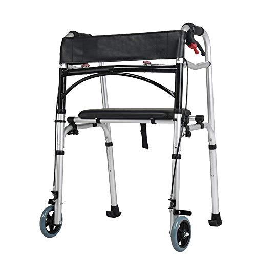 KOSGK 5 '-Räder Rollator Walker Leichtes, verstellbares 6-lb-Gehgestell für Erwachsene für einfachen Aufbewahrungstransport Stark und robust