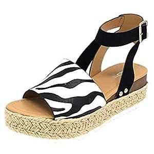 YWLINK Mujeres Sandalias,Europa Y America De Gran TamañO Leopardo,PatróN De Cebra De Gamuza Sandalias De Plataforma Correa De Hebilla Zapatos De Playa Viajes Aire Libre Zapatos Romanos(Negro,39EU)