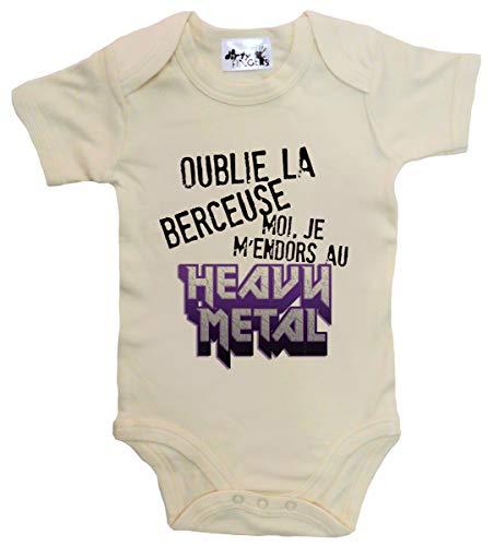 Dirty Fingers Oublie la Berceuse Moi Je m'endors au Heavy Metal Body bébé 0-3m Beige