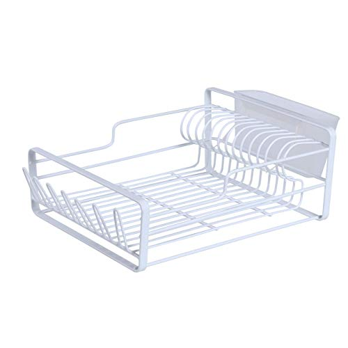 Dish Drying Rack,Over The Sink Adjustable Arms Dish Drainer,Dish Rack in Sink or On Counter with Utensil Silverware Storage Holder, Rustproof Stainless Steel (White)