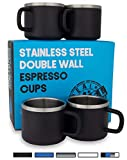 Stainless Steel Espresso Cups: Set of 4 Black Double Wall Insulated 3 Ounce Small Metal Cups with Handle, Shatterproof, Demitasse, Keeps Espresso Hot