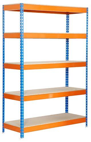 Estantería metálica de media carga Bricoforte 5 estantes Azul/Naranja/Madera Simonrack 2000x1000x600 mms - Estantería media carga - Estantería industrial - 300 Kgs de capacidad por estante