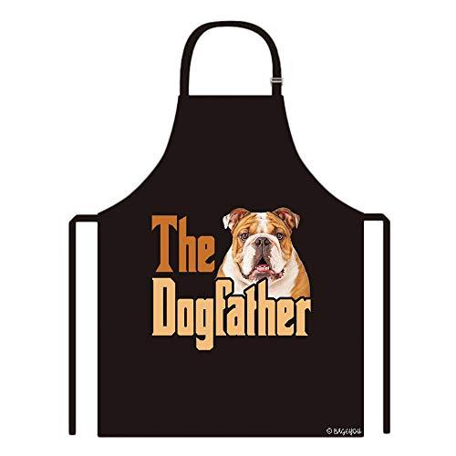 BAGEYOU The Dogfather Bulldog Apron Dog Dad Kitchen Baking Chef Apron 29x34 Inch