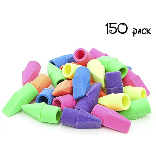 YumyBom Pencil Top Eraser Caps Chisel Shape Pencil Eraser Toppers Assorted Colors in Bulk 150 Pieces