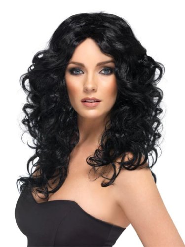 Smiffy's Glamour Wig with Curls - Black, Long