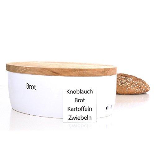 Continenta Brottopf oval mit Holzdeckel, gefräste Kanten, Rückseite als Schneidebrett nutzbar, Brotkasten mit Belüftung, Größe: 36 x 23 x 13,5 cm